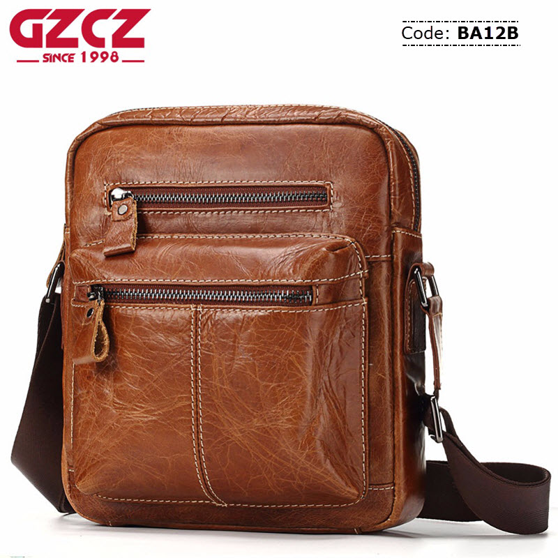 e945e2c7f7b6 BA12B GZCZ Genuine Leather Mens Bag