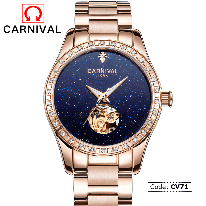Cv71 Carnival Skeleton Sapphire Crystal Automatic Watch