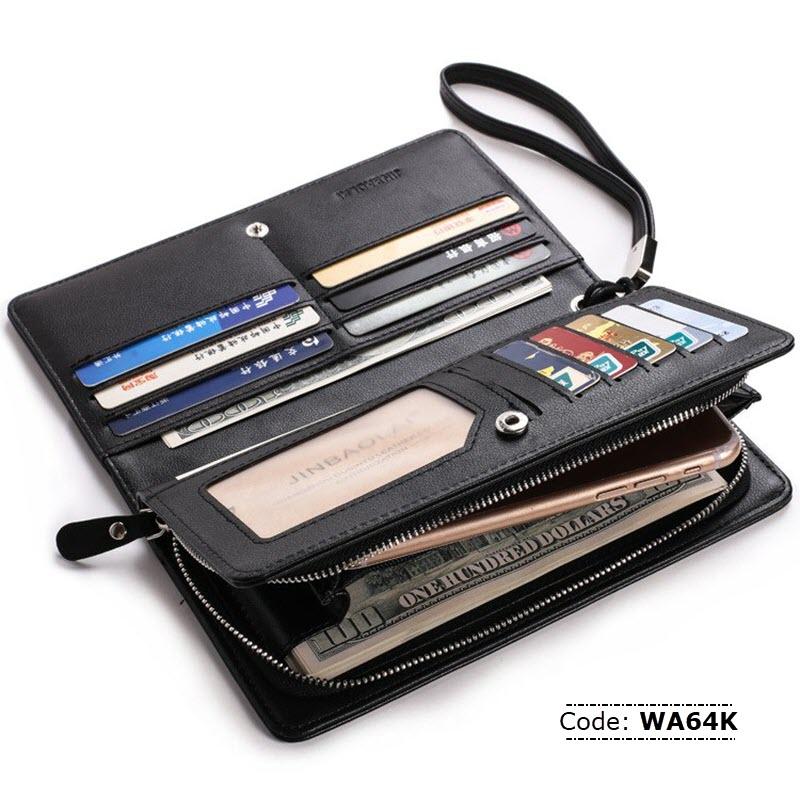 376e3456ba00 WA64K JINBAOLAI Leather Mobile Phone and Card Holder For Men