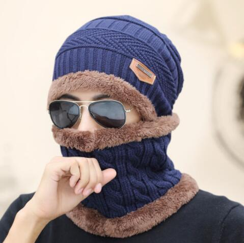 8aaad0a1ffb WHE MAKEFGE Original Black Knitted Winter Hat With Neck Warmer ...