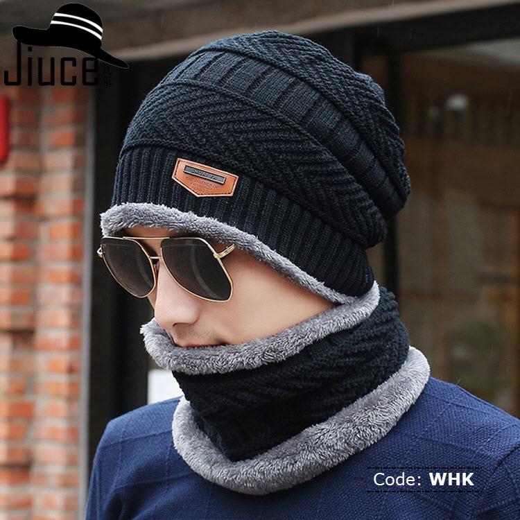 WHK MAKEFGE Original Black Knitted Winter Hat With Neck Warmer ... 94cbd17148d