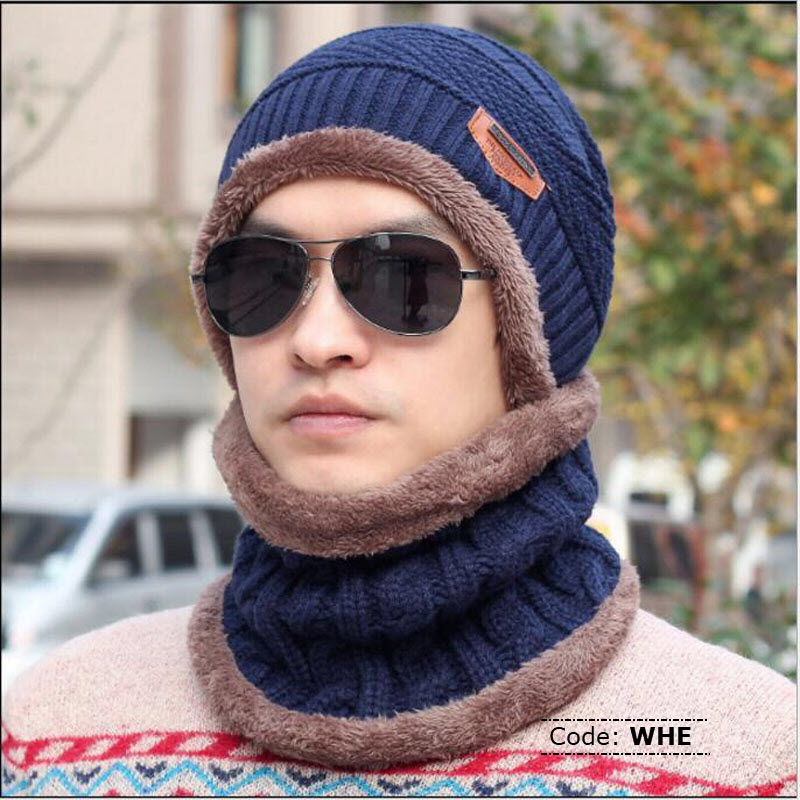 WHE MAKEFGE Original Black Knitted Winter Hat With Neck Warmer ... 03041ff1bc8